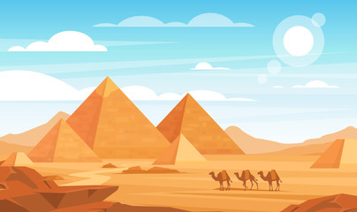 Pyramids in desert flat vector illustration. Egyptian landscape panoramic cartoon background. Bedouin camels caravan and Egypt landmarks. African nature scenery. Animals and sand dunes.