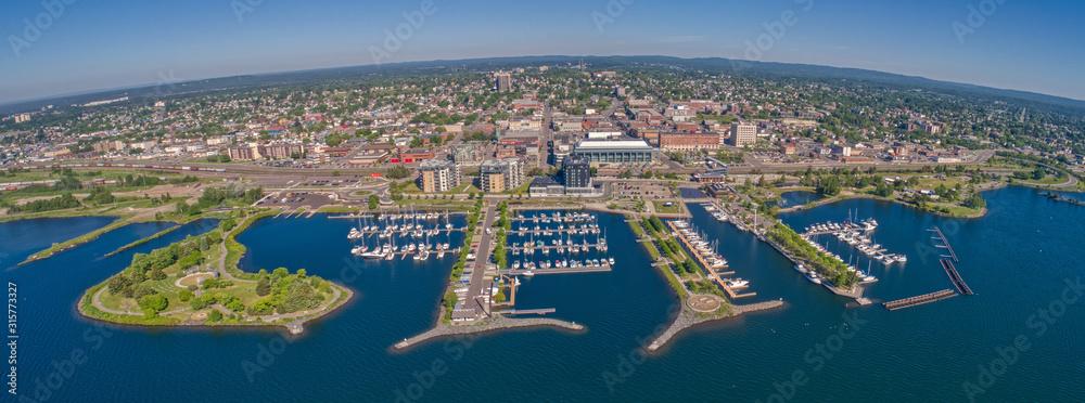 Fototapeta Aerial View of Thunder Bay, Ontario on Lake Superior in Summer