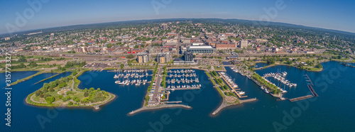 Fototapeta Aerial View of Thunder Bay, Ontario on Lake Superior in Summer obraz
