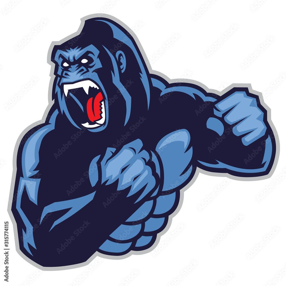 Fototapeta angry, animals, ape, big, branding, chimp, club, creative, design, giant, gorilla, graphic, head, icon, illustrator, kingkong, logo, mascot, media, monkey, powerpoint, primate, pro, silverback, sport