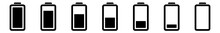 Battery Icon Black | Batteries | Charge Level Symbol | Charging Accumulator Logo | Low High Capacity Sign | Isolated