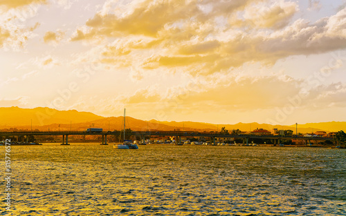 Sunset or sunrise at Harbor at Mediterranean Sea in Old city of Olbia on Sardinia Island in Italy Canvas Print
