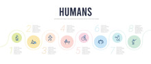 Humans Concept Infographic Design Template. Included Teachers, Begging, High Five, Wheel Chair, Cpr, Walk Icons