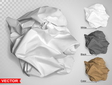 Wrinkled Crumpled Realistic Empty Brown, White And Black Carton Paper Ball Texture. On Gray Background. Template For Text Banners Products Or Business Cards. Layered Vector Set.