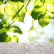 canvas print picture - Empty wooden surface against blurred green background. Sunny morning