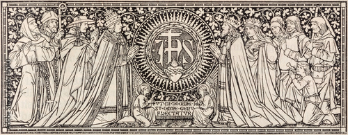 BRATISLAVA, SLOVAKIA, NOVEMBER - 21, 2016: The lithography of JHS (name of Jesus) initials in Missale Romanum by unknown artist with initials F Fototapet