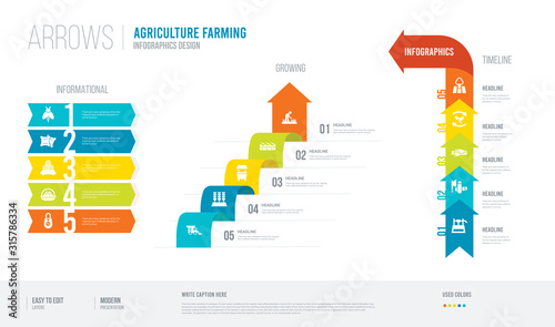 arrows style infogaphics design from agriculture farming concept Canvas Print
