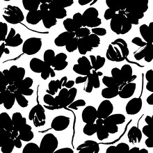 Abstract Blooming Ink Vector Seamless Pattern. Japanese Style Grunge Flowers Black And White Texture.