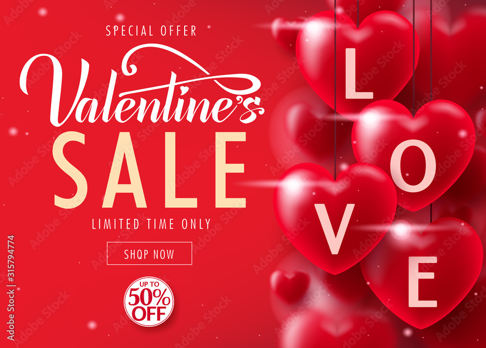 Fototapeta Valentine's Day Sale Special Offer Lovely Promotional Poster Design Up To 50% Off Advertisement for Limited time only with Lots of Realistic Red Hearts. Vector Illustration