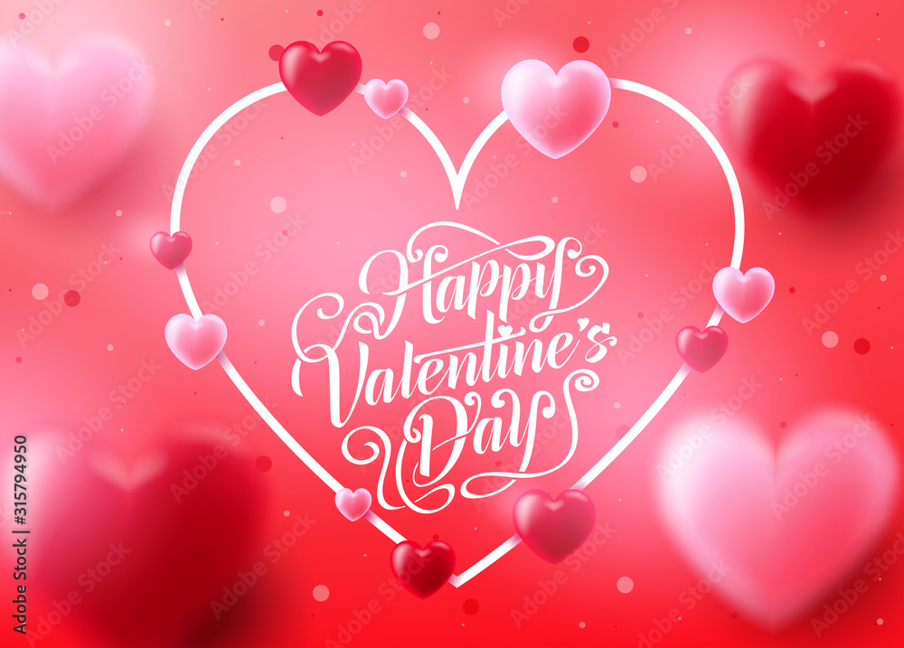 Fototapeta Valentine's Day Background with Realistic 3D Heart in Pink Red Background Romantic Lovely Design. Vector Illustration