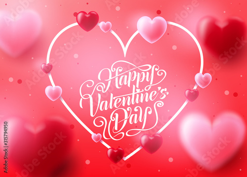 Fototapeta Valentine's Day Background with Realistic 3D Heart in Pink Red Background Romantic Lovely Design. Vector Illustration obraz