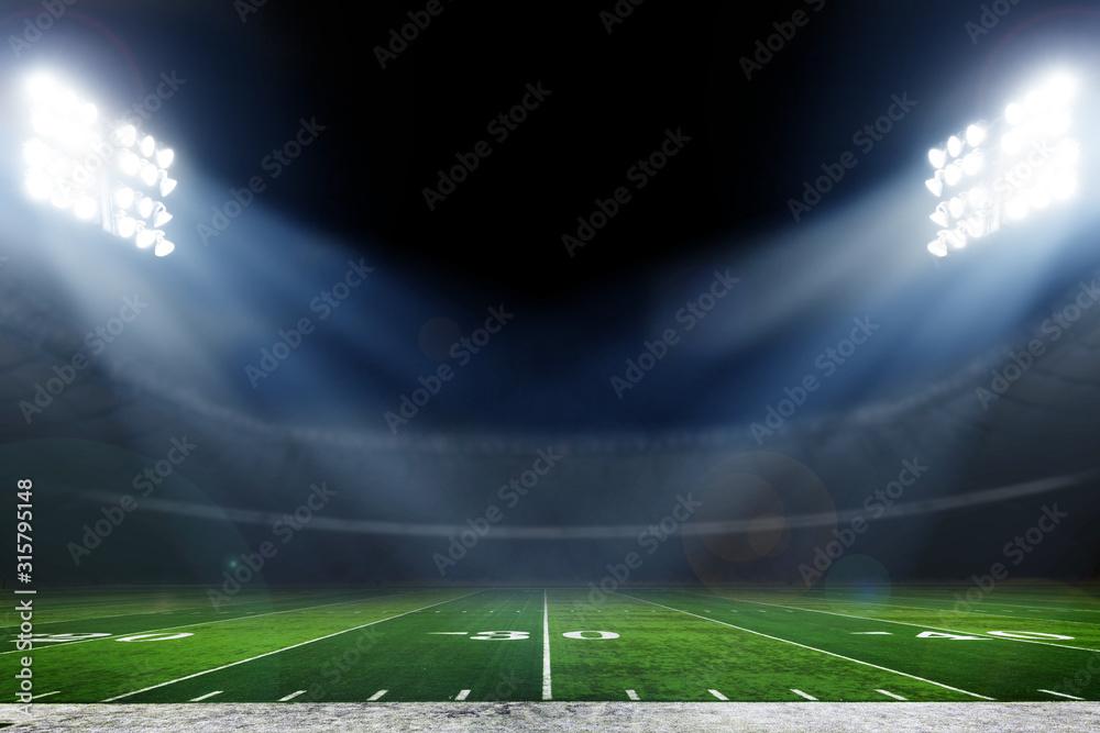 Fototapeta American football stadium with bright lights, sports background