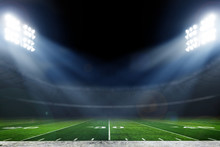 American Football Stadium With Bright Lights, Sports Background