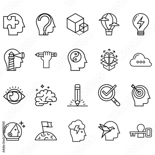 Obraz Simple Set of creativity Related Line Icons. Contains icons such as pens, eyes, brain, ideas and more - fototapety do salonu