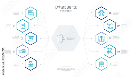 Fényképezés law and justice concept business infographic design with 10 hexagon options