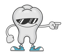 Happy Tooth Cartoon With Sunglasses Pointing