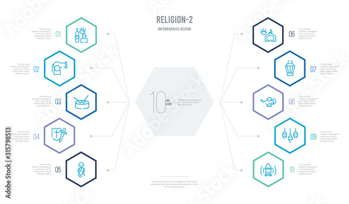 religion-2 concept business infographic design with 10 hexagon options Canvas Print