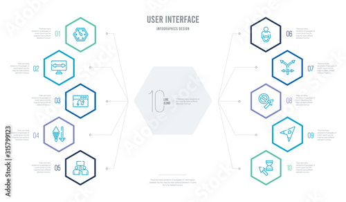 Fotografía user interface concept business infographic design with 10 hexagon options