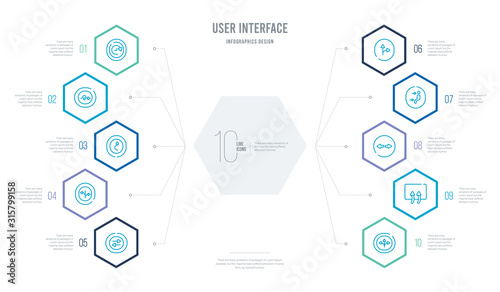 user interface concept business infographic design with 10 hexagon options Fototapet