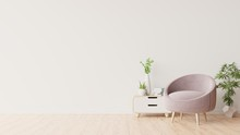 White Wall With Armchair In Li...