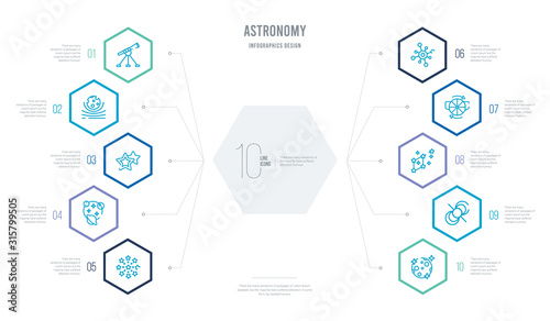 astronomy concept business infographic design with 10 hexagon options Canvas Print