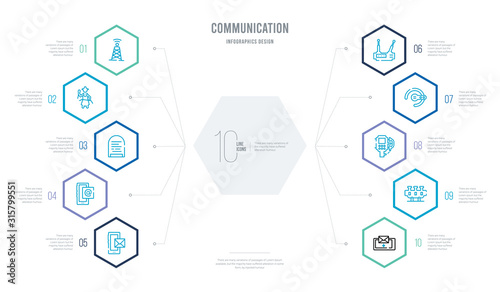 Photo communication concept business infographic design with 10 hexagon options