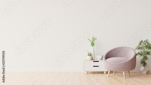 Tablou Canvas White wall with armchair in living room.