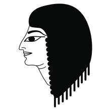 Isolated Vector Illustration. Head Of Ancient Egyptian Man Or Woman In Profile. Black And White Silhouette.