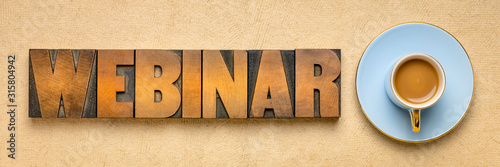 Valokuvatapetti webinar banner  in letterpress wood type