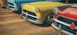 canvas print picture - Classic cars in a row.