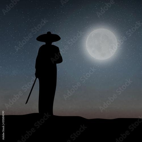 An Asian Assassin Holding The Sword Under The Moonlight Canvas Print