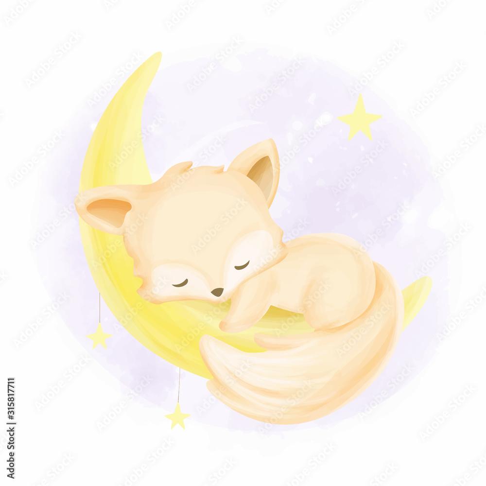 Baby fox sleeping on the moon