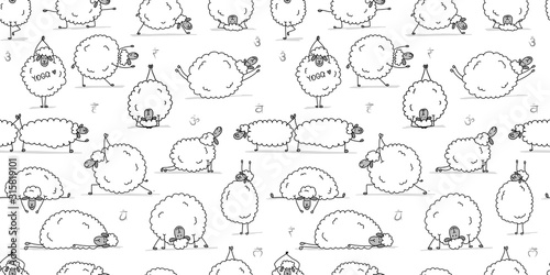 Funny sheep doing yoga, seamless pattern for your design Fototapete