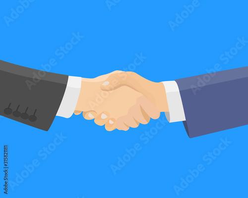 Handshake between two business partners - flat vector illustration Wallpaper Mural