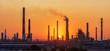 canvas print picture - Oil refinery plant at twilight with sky background.