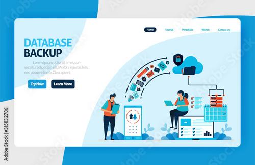 Photo Backup database landing page design