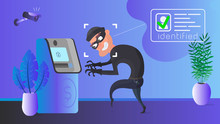 A Thief Is Robbing An ATM. Mas...