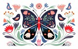 Spring time composition with floral butterfly and seasonal elements, flowers and birds; decorative poster/ banner - 315833376