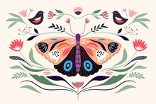 Decorative Poster/banner/composition With Floral Elements, Butterfly,different Flowers And Plants