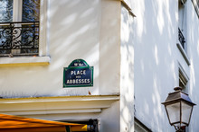 Place Des Abbesses Street Sign, Paris, France
