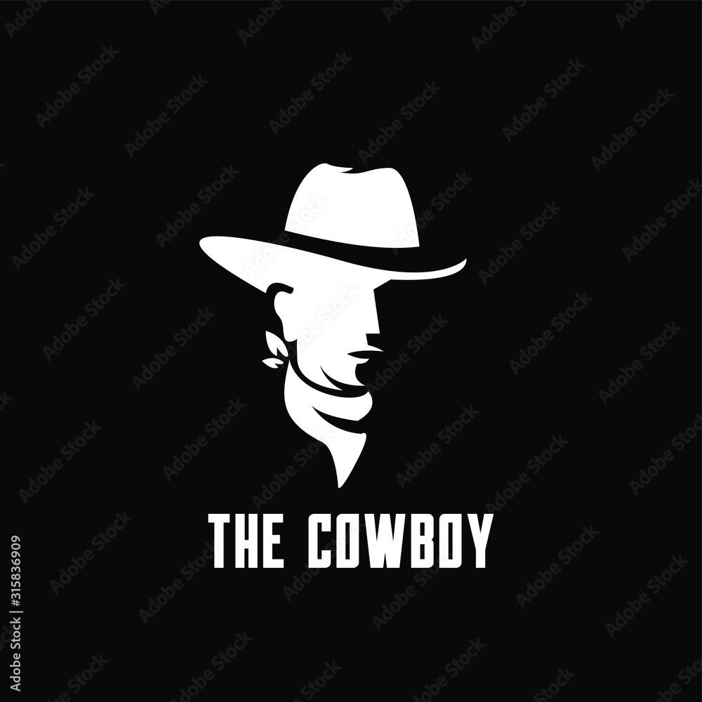 Fototapeta black cowboy bandit head logo icon design