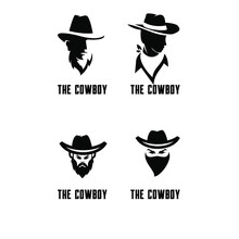 Set Of Cowboy Bandit Head Logo...