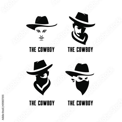 Fototapeta set of cowboy bandit head logo icon design
