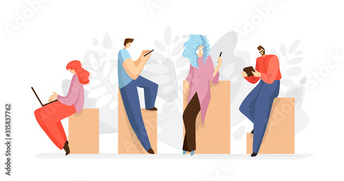 Obraz Working people with tablet, smartphone, laptop, notebook. Online working concept, online job. People searching internet flat vector illustration isolated on white. Working people, flat illustration - fototapety do salonu