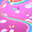 canvas print picture - Cartoon magic rainbow road and balloons in the pink sky. 3d rendering picture.