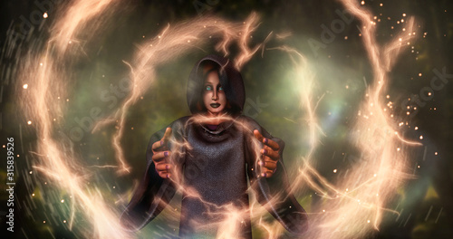 Witch raise hands to cast a black magic spell to create light sprial power,3d rendering picture Canvas Print