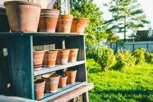 Vintage Clay Pots With Ornamen...