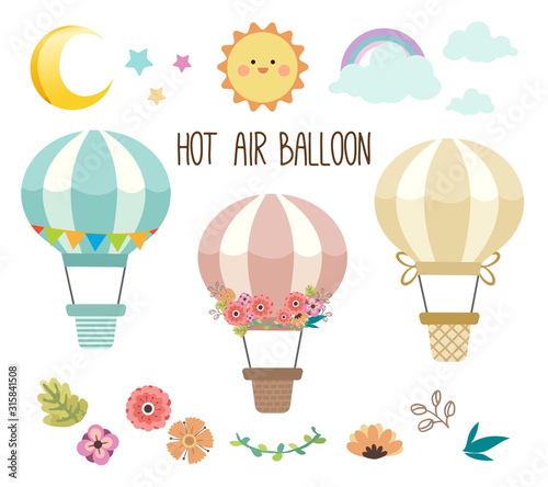 Fotografie, Obraz The collection of cute hot air balloon set