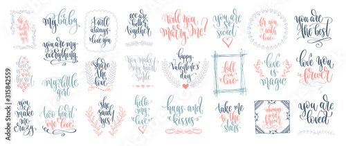 Fotografia  set of 25 hand lettering inscription to wedding party or valentines day design