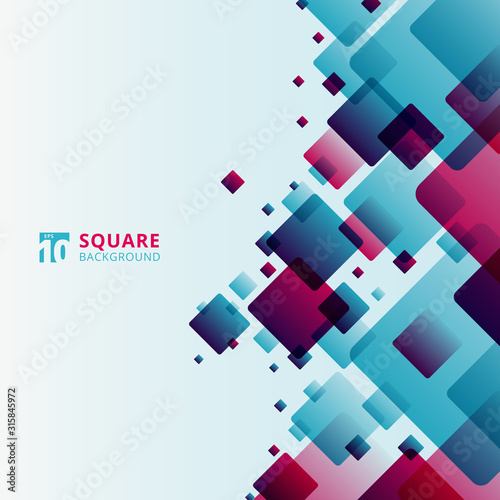 Abstract modern technology futuristic squares geometric blue and pink pattern overlay on white background Fotomurales